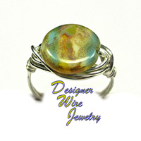 DWJ0333 Stunning Czech Glass Ocean Beach Dreams Silver Wire Wrapped Ring All Sizes