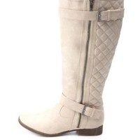 Quilted Side Zipper Belted Riding Boots by Charlotte Russe - Stone