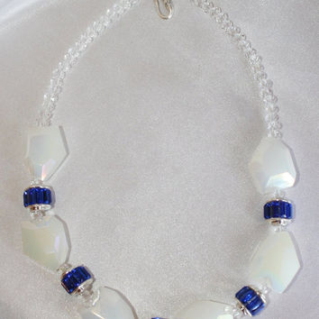 Chunky White Jade Crystal Statement Necklace, Cobalt Blue Wedding Jewelry, Crystal Quartz Bridal Necklace, Blue Rhinestone & Crystal Jewelry