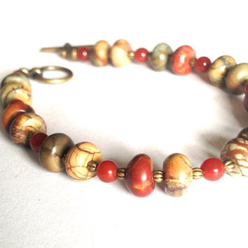 Earthy Boho Bracelet - Hippie Earth Toned Beaded Bracelet