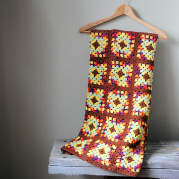 Granny Square Afghan Vintage 1970s Handmade Crochet by Untried