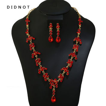 DIDNOT Fashion Luxury Red Crystal Water Drop Brides Necklace Clip Earring Bridal Jewelry Sets Party Wedding Gift Women XN3033