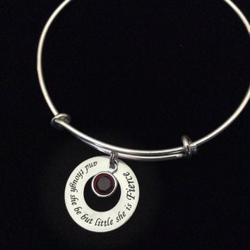 And Though She be But Little She is Fierce Charm with Birthstone Bracelet Adjustable Expandable Silver Wire Bangle Trendy Meaningful Inspirational