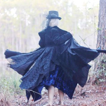 Black velvet kimono, Gypsy soul duster jacket, True rebel clothing