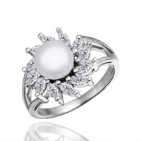 Fashion Platinum Plated Simple Zircon simulated pearl wedding Ring Jewelry Rings NPLR010