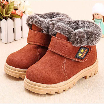Boys Girls Winter Snow Boots Children Ankle Shoes Breathable Sneakers For Kids Martin Boot Flats Oxford Suede Leather Shoe