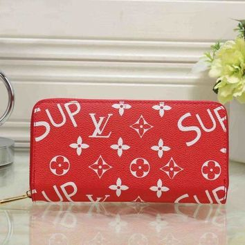DCCK LV x Supreme Women Fashion Clutch Bag Leather File Bag Tote Handbag