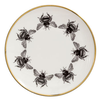 Printed porcelain plate - White/Bees - Home All | H&M GB