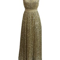 Staychicfashion Sparkly Jeweled Neckline Gold Long Sequined Evening Prom Dress