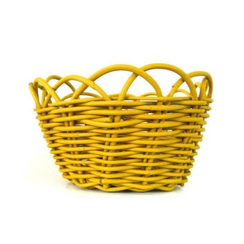 mustard yellow, basket, wicker, upcycled home decor, storage, baskets, fruit bowl