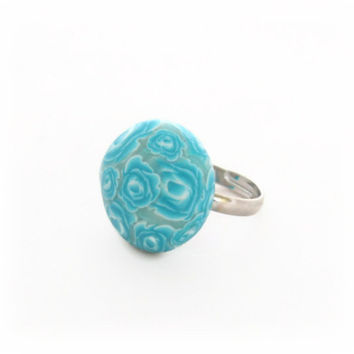 Turquoise Rose Ring - Polymer Clay Ring - Turquoise Blue - Millefiori Rose Flowers - Small 22mm - Bespoke Design