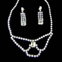 Rhinestone Necklace and Earrings Set Earrings Festoon Signed Kramer NY