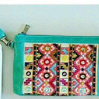 Colorful Embroidered Glitz Clutch Turquoise