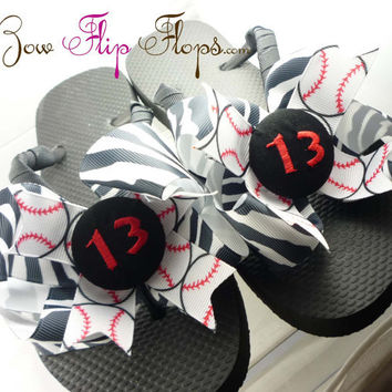 Baseball Flip Flops Bow Number Softball  by BowFlipFlops on Etsy