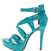 Red Circle Seafoam Green Heels