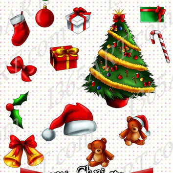 Merry Christmas 15 piece Handmade Clipart Christmas tree, jungle bells, gift boxes, tree Ornaments PNG & JPEG Format 300 DPI Commercial-Use