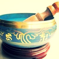 Collectibles Tibetan Buddhism Cuprum Mantra Singing Bowl Antique Garden Decoration ~