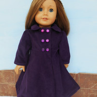 18 Inch Doll Clothes, Purple Doll Coat, Dark Plum Corduroy Coat, Winter Doll Clothes, fits American Girl Dolls