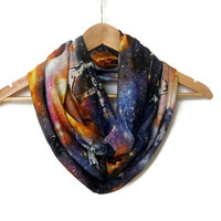 Galaxy Scarf Milky Way, Space Cotton Jersey Infinity Scarf Lightweight Cosmo Galaxy, Winter Trends