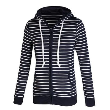 Navy Blue Striped Zipped Hoodie Sweater