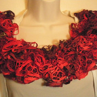 Red Hot Lacy Ruffled Scarf