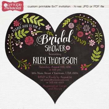 Heart shaped bridal shower invitation, Digital printable chalkboard flower garden invites pink and green romantic floral inviation card