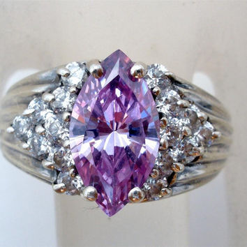 Vintage Sterling Silver Alexandrite Ring Marquis Purple Cubic Zirconia  Size 7