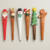 Hand-Carved Wood Holiday Pens, Set of 6 - World Market
