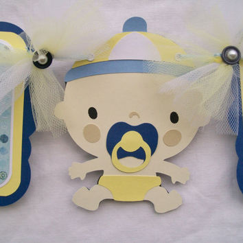 Baby boy, baby shower banner, blue, and yellow, its a boy - READY TO SHIP