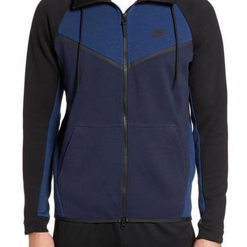 KUYOU Nike Sportswear Men's Tech Fleece Windrunner Hoodie (Obsidian Heather/Obsidian/Black)