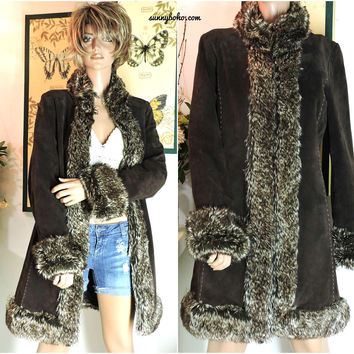 Vintage boho leather faux fur coat / size S / M / dark brown long suede leather faux fur trim coat / 80s hippie leather jacket