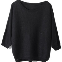 ROMWE | Buttoned Loose Black Jumper, The Latest Street Fashion