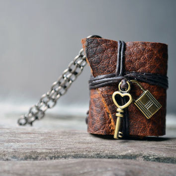 Lock&key MiniatureBook Necklace brown color by fullmoonn on Etsy