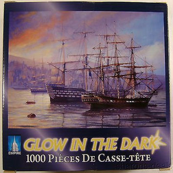 Glow In The Dark Puzzle Frigate And First Rate 1000 Pc 20x27 Ship Sailboat Bay