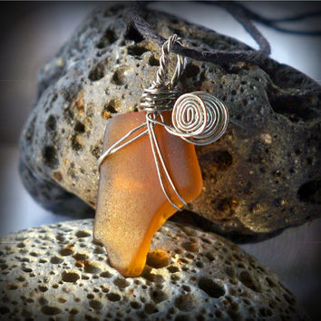 Amber Sea Glass Necklace & Black Hemp Cord - Lake Ontario
