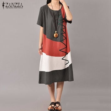 2017 Ladies O Neck Short Sleeve Splice Casual Loose Dress