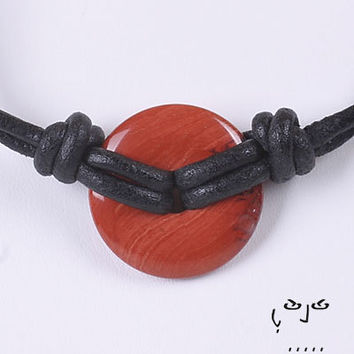 VujuWear Men's Red Jasper Infinity Donut Necklace - Men's Leather Necklace Tribal