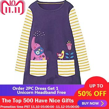 Unicorn Dress Baby Girls Clothes 2018 Brand Girls Dresses with Animal Applique Princess Dress Christmas Costume Kids Vestidos