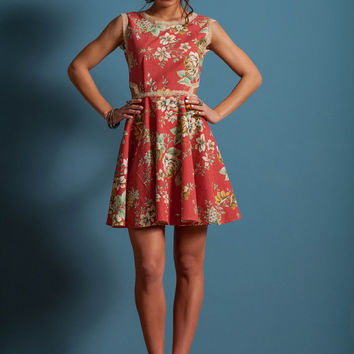 Floral Skater dress, open back skater dress, side openings dress, vintage lace details dress