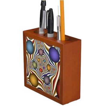 Flying Up, Colorful, Modern, Abstract Fractal Art Pencil/Pen Holder