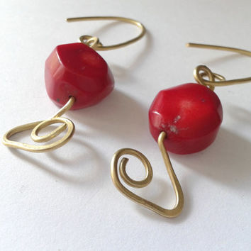 handmade earrings of bamboo coral and hammered brass wire