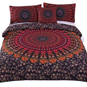 Sleepwish 4 Pcs Mandala Hippie Concealed Bedspread Bohemian Bedding Duvet Cover Set Twin Size