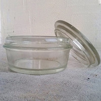 Vintage Glass Jar with Lid 100ml Primitive canning jar Retro kitchen Old conservation Kitchens containers Rustic kitchen storage Еhick glass