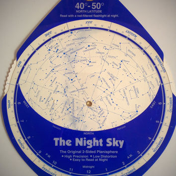 Vintage 90's Star Map 'The Night Sky' Planosphere Chart