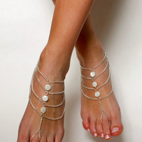 White Bohemian Barefoot Sandals