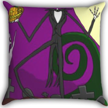 Jack Skellington Zippered Pillows  Covers 16x16, 18x18, 20x20 Inches
