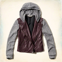 Faux Leather Contrast Hoodie Jacket