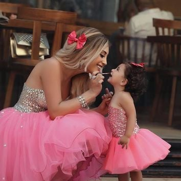 Sweet Robe De Cocktail Dresses 2016 Sweetheart Rhinestones Beaded Corset Top Above Knee Length Pink Organza Party Prom Dress