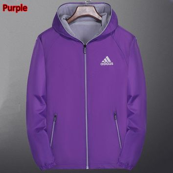 ADIDAS autumn and winter new women's sports fitness wild cardigan windbreaker jacket Purple