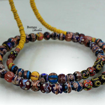 "Beads Necklace From Borneo.NEW BEADS.Tribal Dayak Ethnic Handmade Glass Bead,Currency Trade Beads,Colorful Beads/17.5""Long/2.45oz"